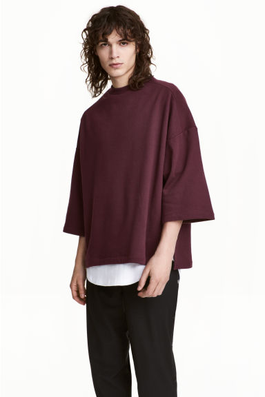 Short-sleeved sweatshirt - Burgundy - Men | H&M 1