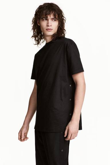 T-shirt with press-studs - Black - Men | H&M CN