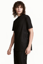 T-shirt with press-studs - Black - Men | H&M 1