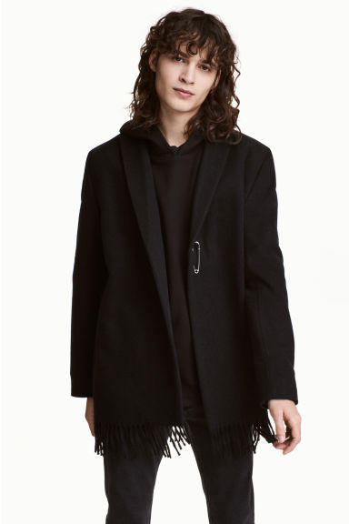 Wool-blend jacket with fringes - Black - Men | H&M 1