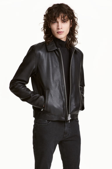 Leather jacket - Black - Men | H&M CN 1