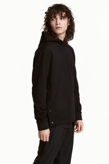 Hooded top with press-studs - Black - Men | H&M 1