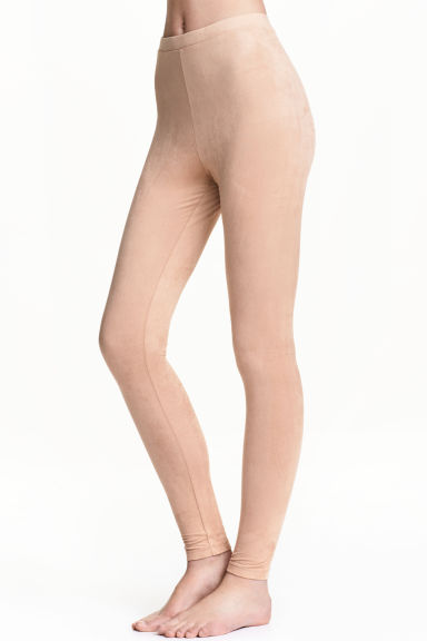 Imitation suede leggings - Beige - Ladies | H&M
