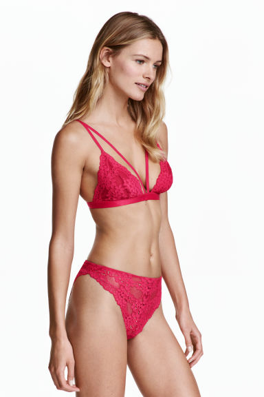 Lace bikini briefs - Raspberry pink - Ladies | H&M 1