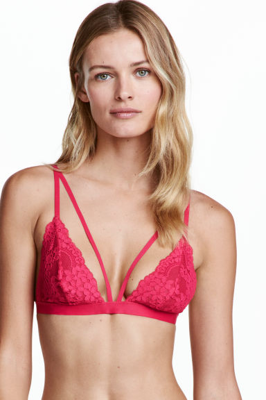 Non-wired lace bra - Raspberry pink - Ladies | H&M CN 1