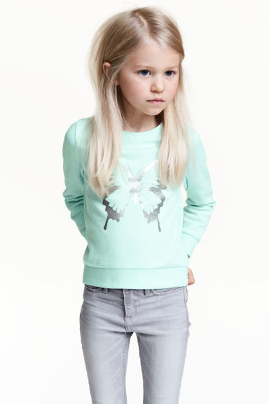 Printed sweatshirt - Mint green/Butterfly - Kids | H&M CN