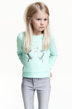 Printed sweatshirt - Mint green/Butterfly - Kids | H&M CN 1