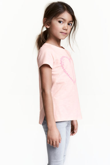 Printed top - Light pink/Heart -  | H&M 1