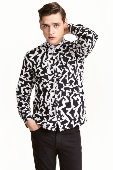 Patterned cotton shirt - Black/White/Patterned - Men | H&M CN 1