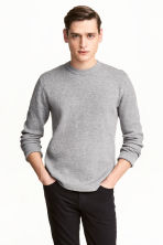 Textured-knit jumper - Grey marl - Men | H&M 1