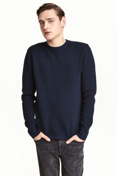 Textured-knit jumper - Dark blue -  | H&M CN