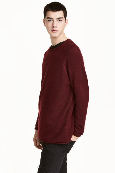 Fine-knit jumper - 酒红色 - Men | H&M CN 1