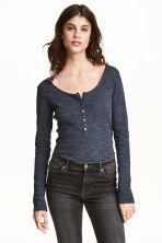 Jersey top with buttons - Dark blue marl - Ladies | H&M 1