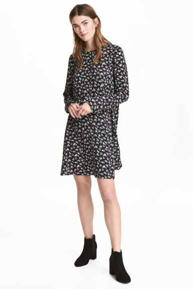 Patterned dress - Black/Floral - Ladies | H&M CN 1