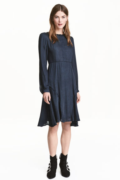 Jacquard-weave dress - Dark blue/Patterned - Ladies | H&M CN 1