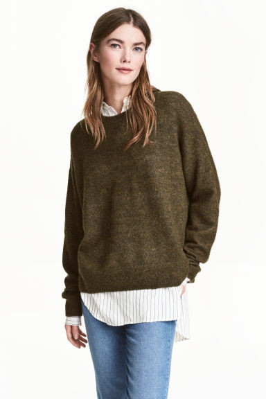 Oversized jumper - Khaki green marl - Ladies | H&M CN 1