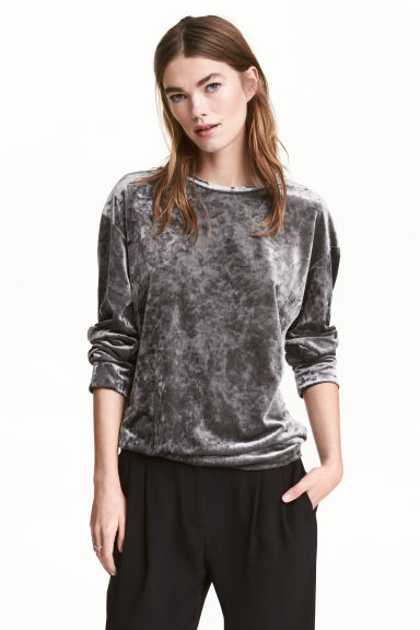 Crushed velvet top - Dark grey - Ladies | H&M 1
