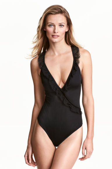 Swimsuit with lace details - Black - Ladies | H&M 1