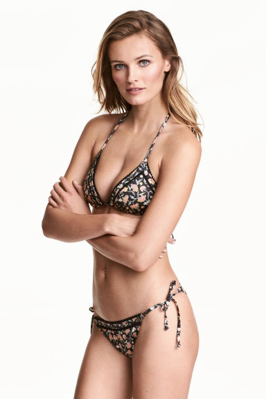 Tie tanga bikini bottoms - Black/Small floral - Ladies | H&M IE 1