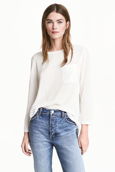Top with a woven front - White - Ladies | H&M 1