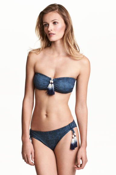 Bikini bottoms with tassels - Dark denim blue - Ladies | H&M CA 1