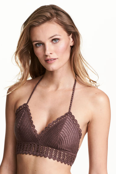Crocheted triangle bikini top - Chocolate brown - Ladies | H&M CN 1