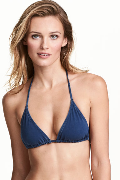 Triangle bikini top - Dark denim blue - Ladies | H&M 1
