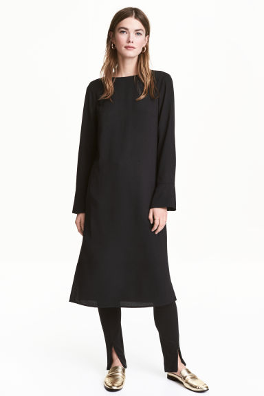 Crêpe dress - Black -  | H&M CN 1