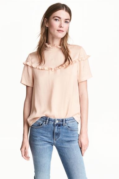 Blouse with frills - Powder -  | H&M CN 1