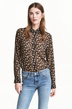 Chiffon blouse - Black/Floral - Ladies | H&M 1