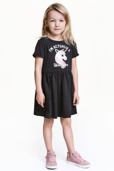 Sweatshirt dress - Black/Unicorn -  | H&M 1