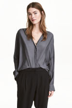 V-neck blouse - Dark grey - Ladies | H&M CN 1