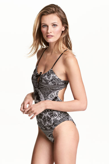 Patterned swimsuit - Black/White/Patterned - Ladies | H&M 1