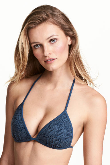 Push-up triangle bikini top - Dusky blue - Ladies | H&M 1