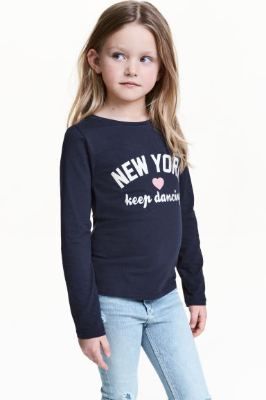Long-sleeved top - Dark Blue/New York - Kids | H&M CN 1