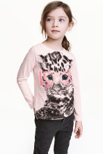 Long-sleeved top - Light pink/Leopard print -  | H&M 1