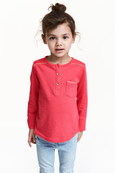Long-sleeved Henley shirt - Raspberry pink - Kids | H&M 1
