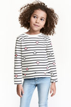 Sweat - Blanc/rayé - ENFANT | H&M FR 1