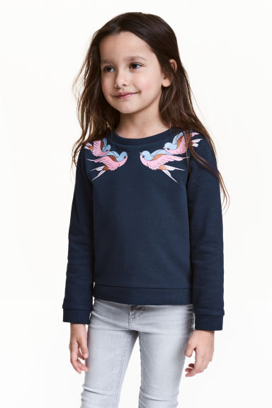 Sweatshirt - Dark blue - Kids | H&M GB 1
