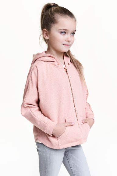 Wide hooded jacket - Light pink/Glittery - Kids | H&M 1