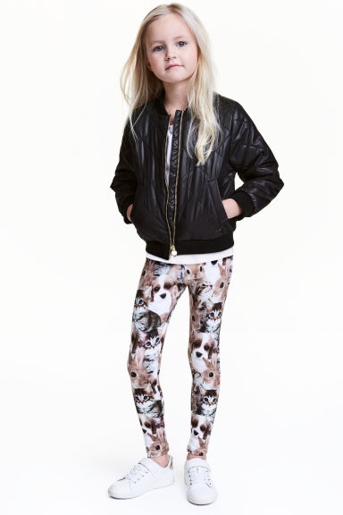 Printed leggings - White/Animal - Kids | H&M