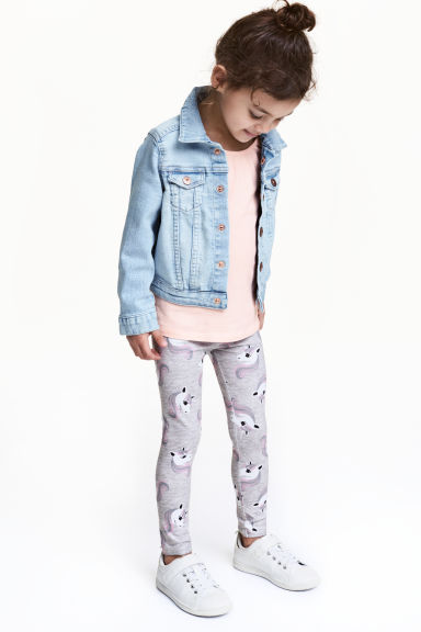 Printed leggings - Grey/Unicorns - Kids | H&M