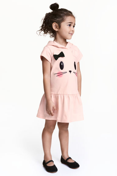 Hooded jersey dress - Powder pink - Kids | H&M CN 1