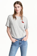 T-shirt with a motif - Light grey marl/Lips - Ladies | H&M 1