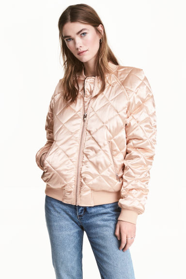Quilted satin bomber jacket - Powder - Ladies | H&M