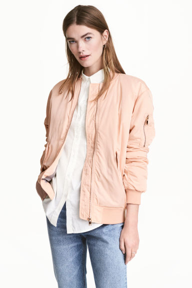 Oversized bomber jacket - Powder - Ladies | H&M CN