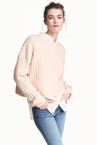 Knitted jumper - Powder pink marl - Ladies | H&M