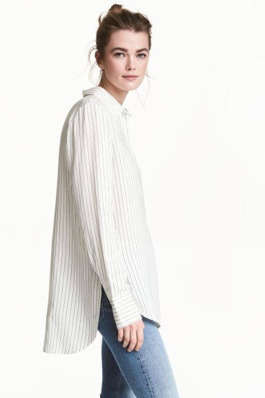 Striped blouse - White/Striped - Ladies | H&M GB 1