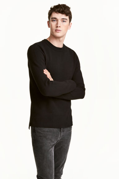 Fine-knit cotton jumper - Black - Men | H&M CN 1