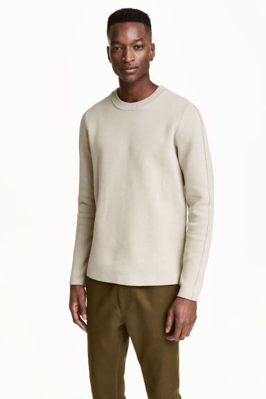 Fine-knit cotton jumper - Light beige - Men | H&M CN 1